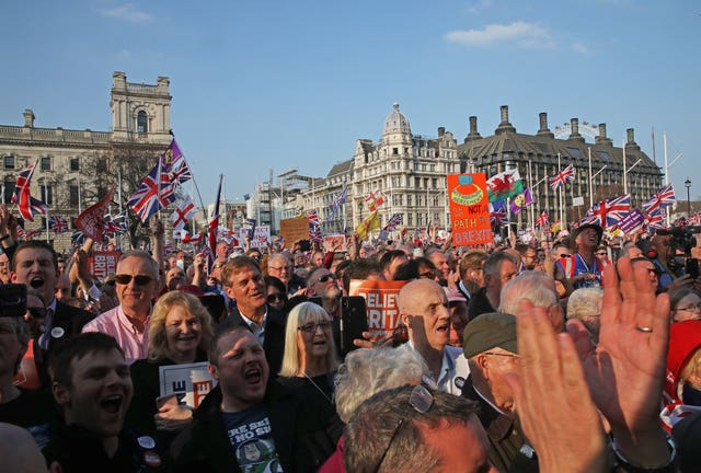 March to Leave protesters in Parliament Square
