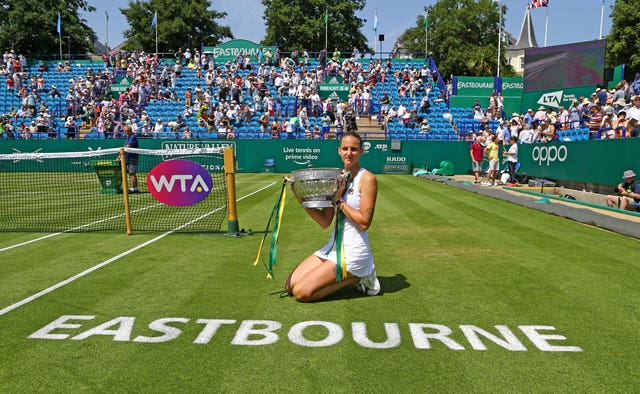 Karolina Pliskova celebrates her victory in the Nature Valley International at Eastbourne