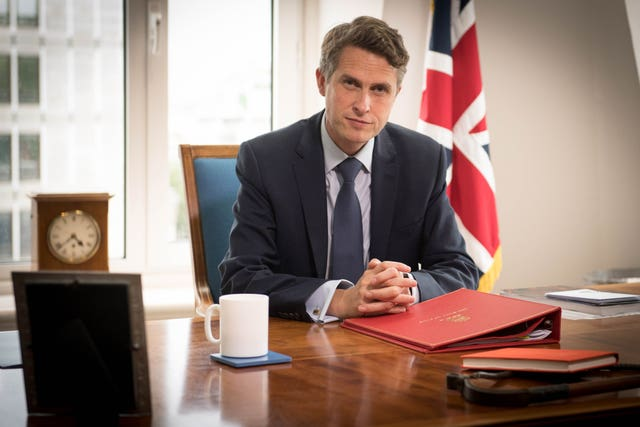 Education Secretary Gavin Williamson at his desk
