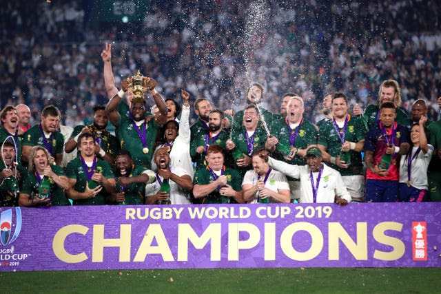 South Africa captain Siya Kolisi lifted the Webb Ellis Cup at Yokohama Stadium.