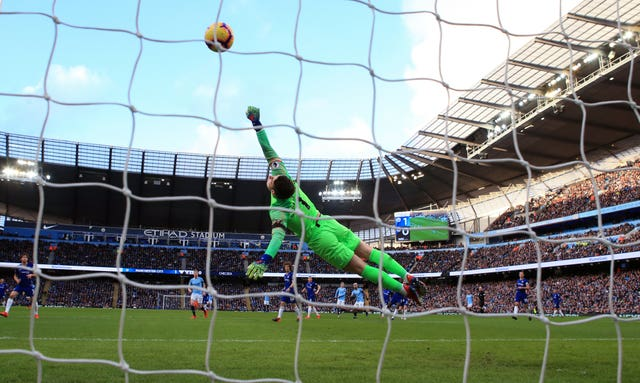 Chelsea goalkeeper Kepa Arrizabalaga was well beaten by Aguero