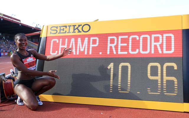 Dina Asher-Smith set a new championship record of 10.96 seconds to win her 100m event