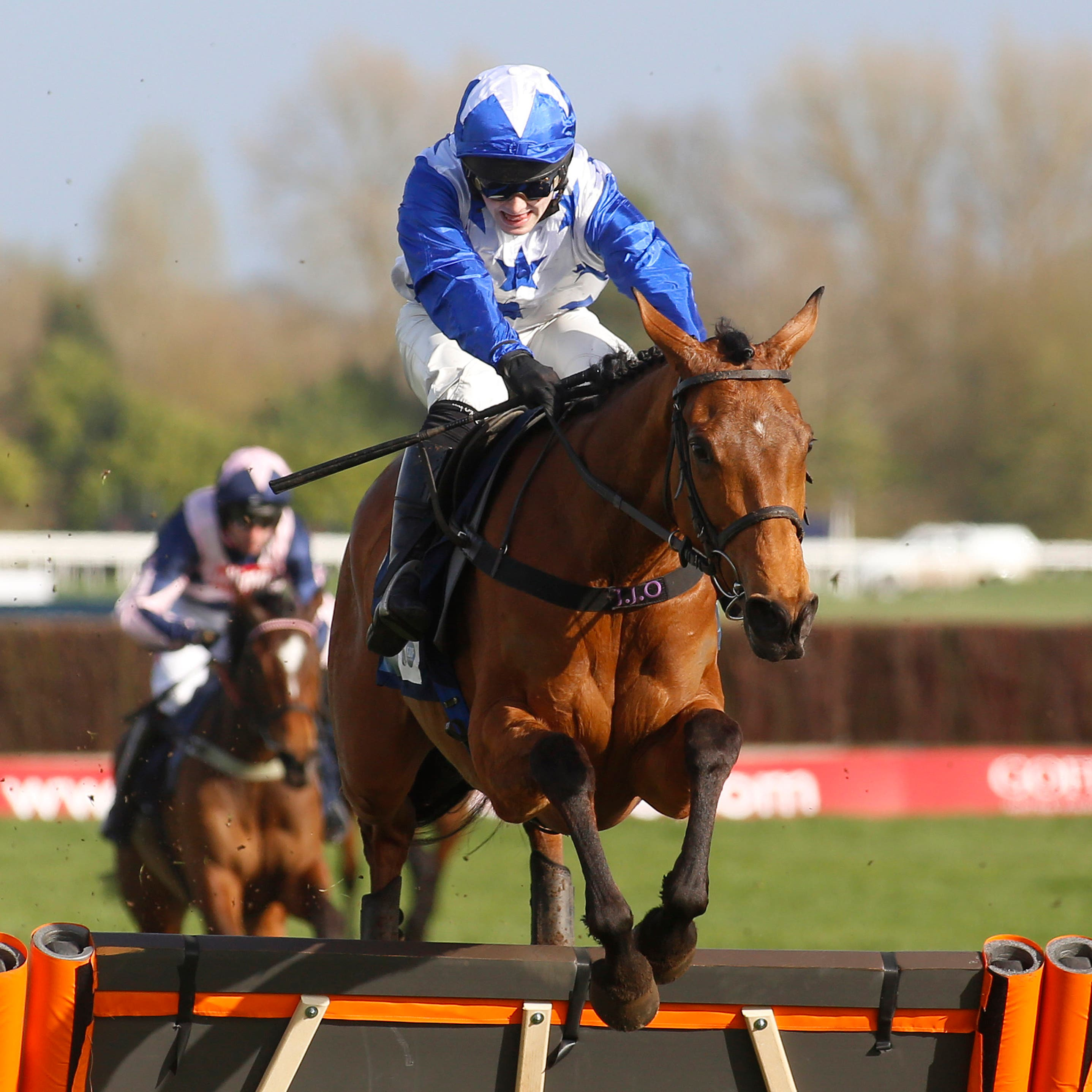 Annie Mc and Jonjo O'Neill junior clear the last at Newbury