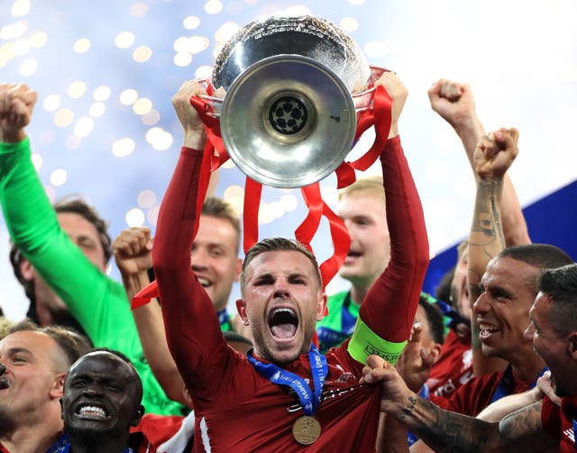 Liverpool's Jordan Henderson lifted the Champions League trophy on Saturday