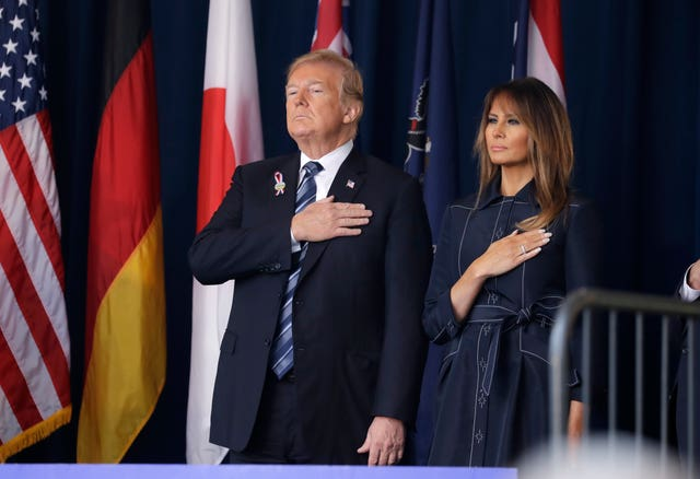 Donald Trump and first lady Melania Trumpat the memorial service
