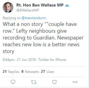 Screengrab taken from the Twitter account of @BWallace_MP of his now deleted comment on a story about police being called to the home of Boris Johnson (@BWallace_MP/PA)