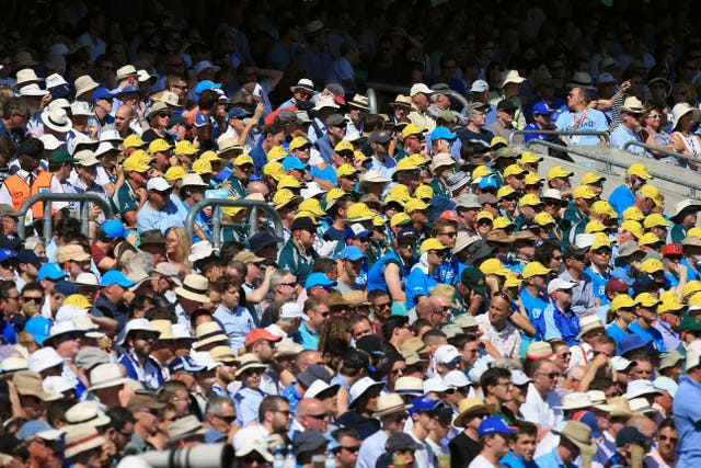 Fans watch the action at the Kia Oval