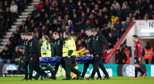 Mustafi was stretchered off in the second half