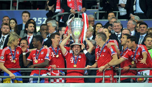 Franck Ribery lifts the Champions League trophy at Wembley