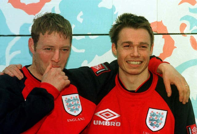 Blackburn and England team-mates David Batty, left, and Graeme Le Saux