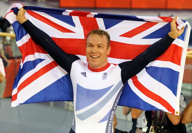 Great Britain's Chris Hoy celebrates winning the men's keirin final