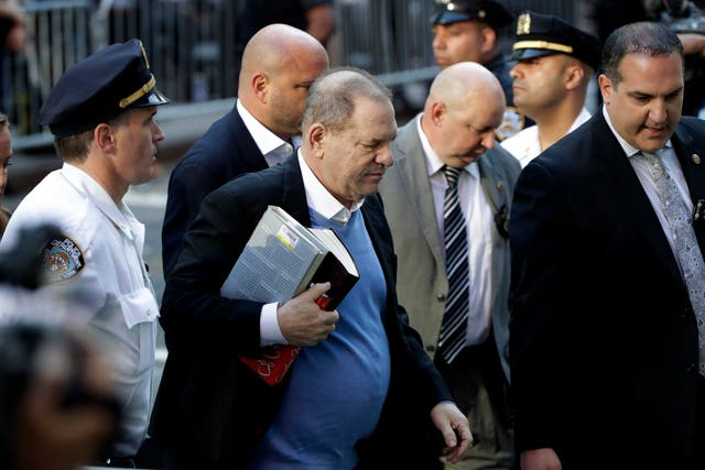 Harvey Weinstein arrives at the first precinct while turning himself to authorities in New York City (AP)