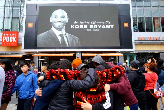 Bryant's image was shown on a billboard outside the Staples Center