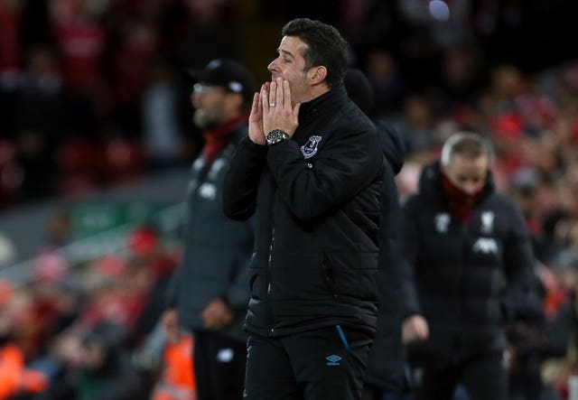 Marco Silva looks dejected at Anfield