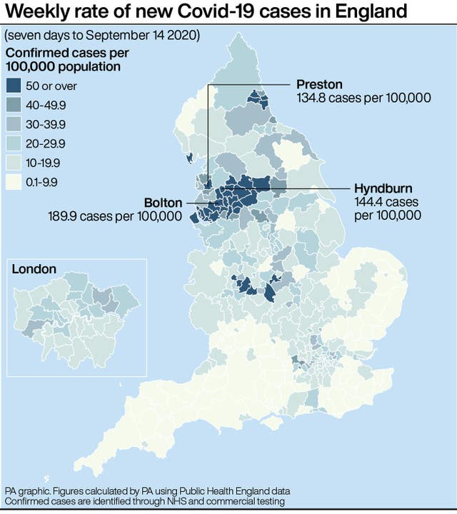 Weekly rate of new Covid-19 cases in England