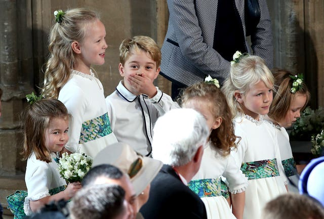 The bridesmaids and page boys, including Prince George and Princess Charlotte, at the wedding of Princess Eugenie to Jack Brooksbank