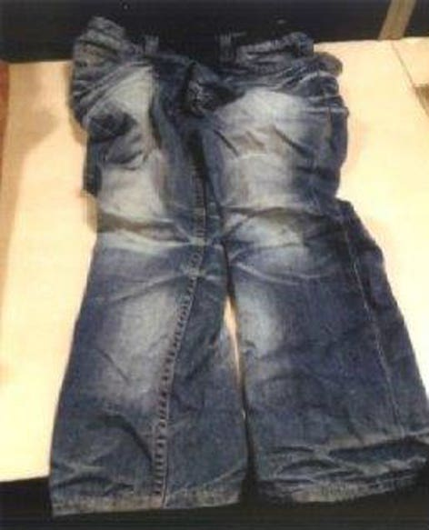 A pair of jeans found during the search