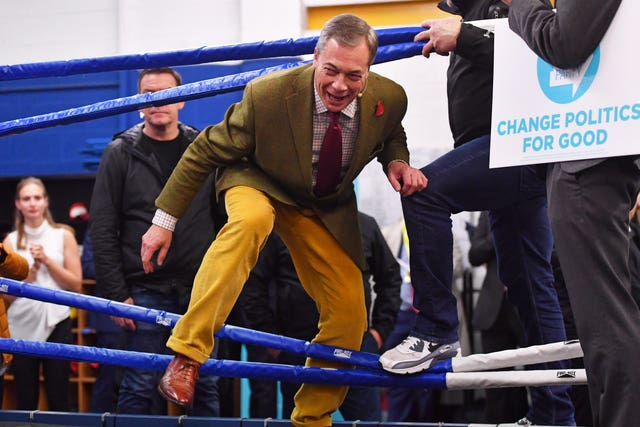 Nigel Farage climbs into the ring at Bolsover Boxing Club