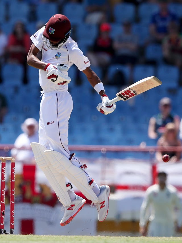 West Indies' Roston Chase battled his way to a half-century at tea