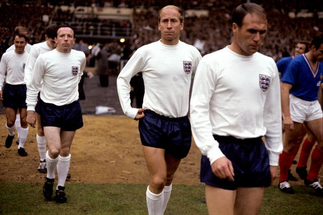 Bobby Charlton (centre) played more than 100 times for England.