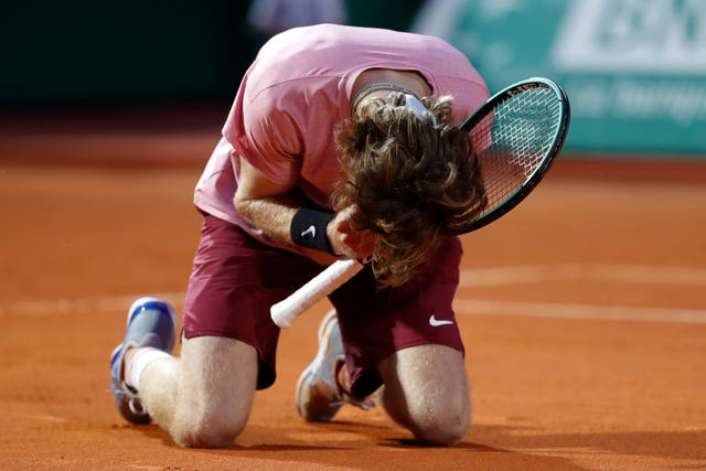 Andrey Rublev reacts to his victory over Rafael Nadal