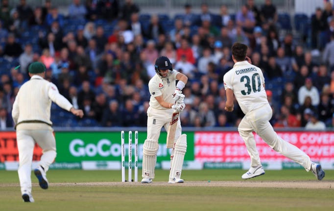 Joe Root was dismissed by Australia's Pat Cummins for a duck on Saturday
