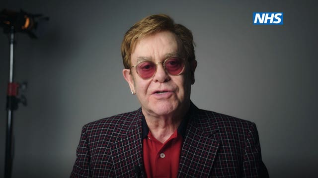 Sir Elton John as he stars, with Sir Michael Caine, in the new video to encourage people to get vaccinated against coronavirus
