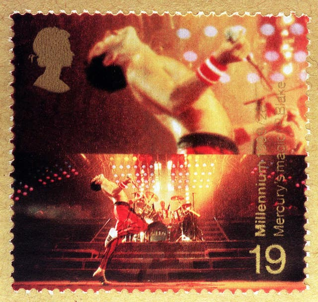This stamp featuring Freddie Mercury and Roger Taylor
