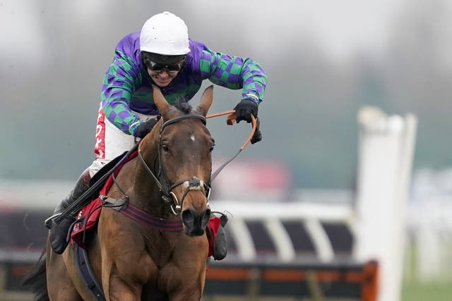 Richard Johnson in full flow on Thyme Hill en route to victory in the Ladbrokes Long Distance Hurdle at Newbury this season