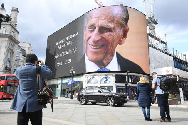 A tribute to the Duke of Edinburgh on display at the Piccadilly Lights in central London
