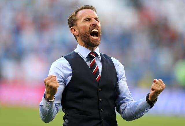 Gareth Southgate strikes a familiar victory pose after England's win against Sweden