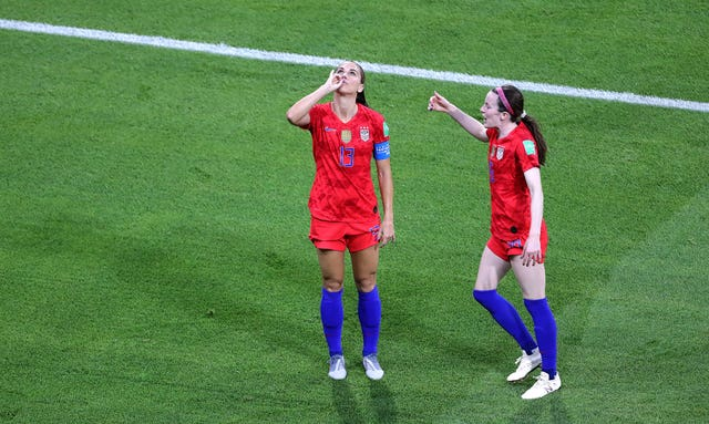Morgan celebrated her sixth World Cup goal by pretending to drink a cup of tea