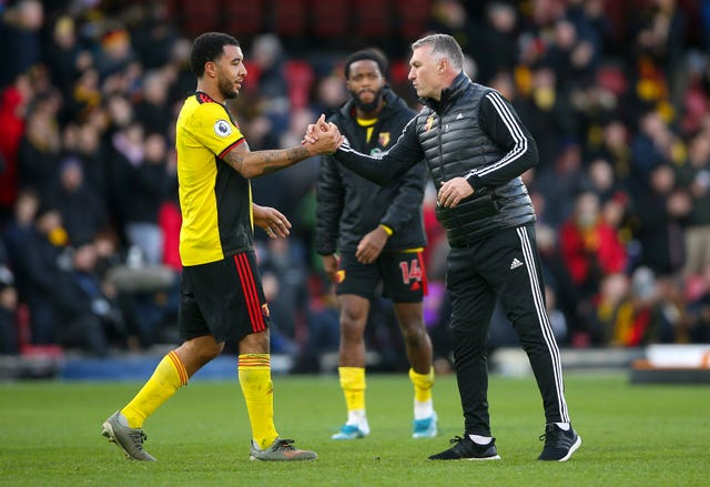 Deeney  and Watford manager Nigel Pearson shake hands after the final whistle