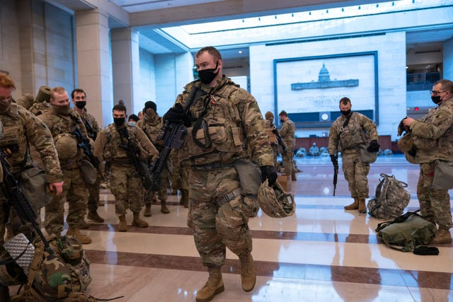 Hundreds of National Guard troops inside the Capitol Visitor's Centre to reinforce security