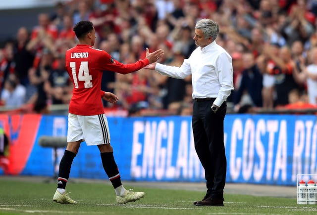 Manchester United's Jesse Lingard and Jose Mourinho, who was United manager at the time
