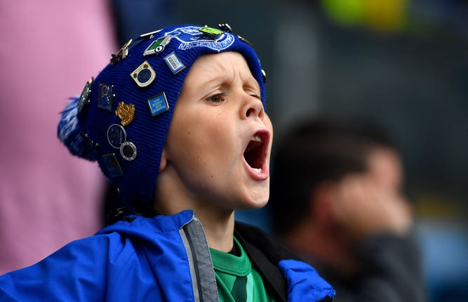 A young Everton fan at Turf Moor