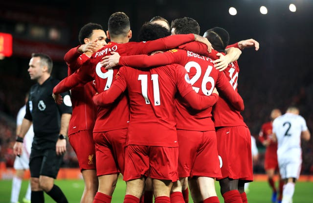 Liverpool need just two wins to guarantee a first Premier League title (Peter Byrne/PA)