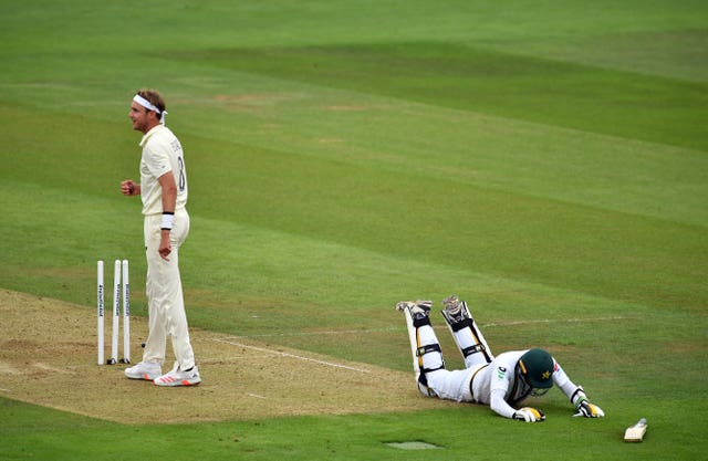 Pakistan's Mohammad Abbas makes it back to his crease as England's Stuart Broad attempts to run him out