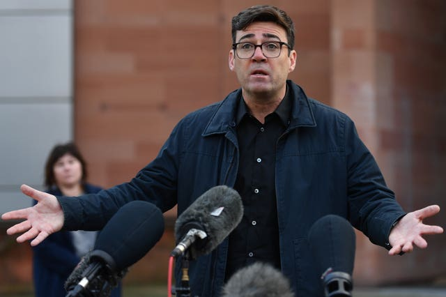Greater Manchester Mayor Andy Burnham speaks to the media outside Bridgewater Hall
