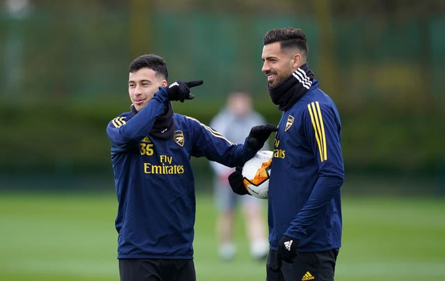 Pablo Mari, right, joined Arsenal in January