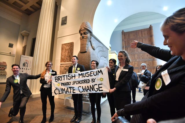 Activists from the pressure group BP Or Not BP protest inside the British Museum