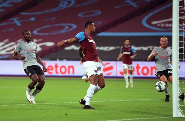 Sebastien Haller scores West Ham's first goal of the game against Charlton