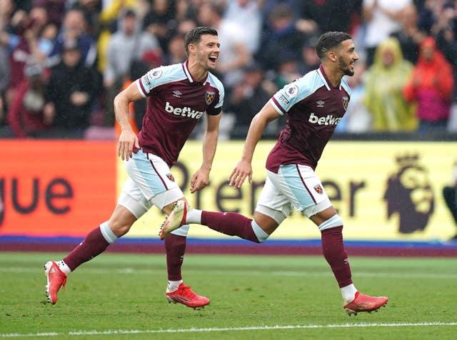 Said Benrahma (right) celebrates West Ham's opener