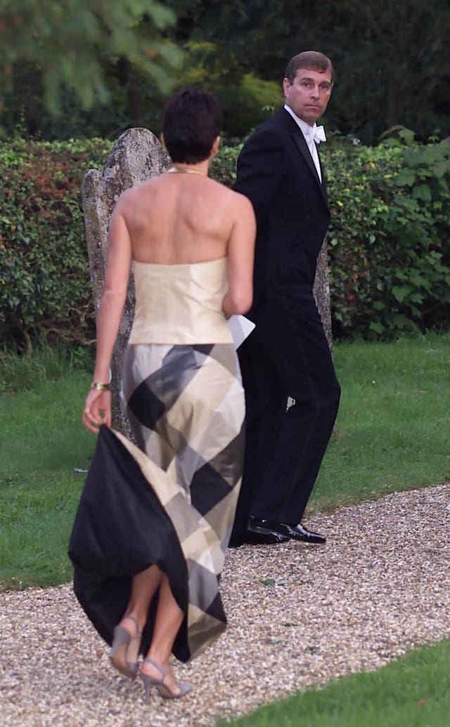 Ghislaine Maxwell in 2000 with the Duke of York leaving the wedding of a former girlfriend of the duke