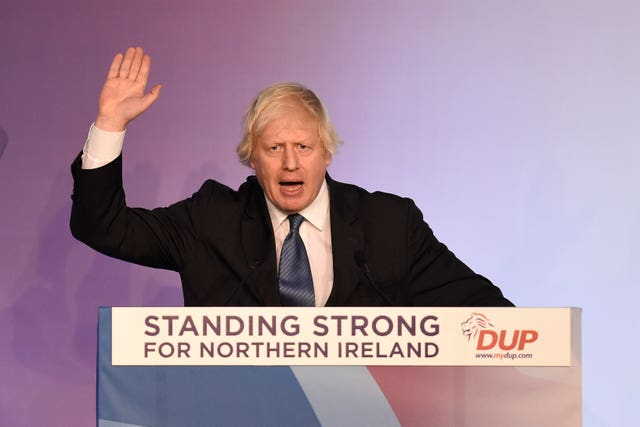 Boris Johnson speaking during the DUP annual conference in Belfast