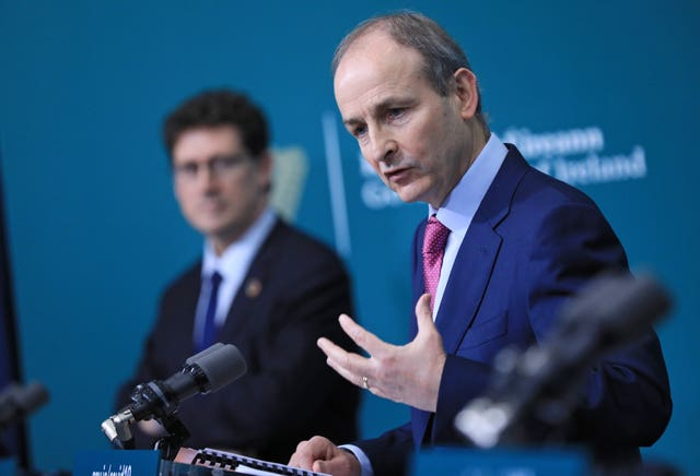 Taoiseach Micheal Martin during a joint press conference at Government Buildings in Dublin