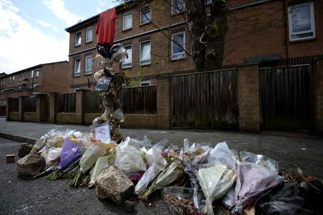 Tributes on Ferncliff Road in Hackney, where Abraham Badru was shot dead (Kirsty O'Connor/PA)