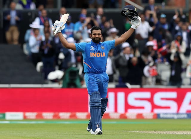 Rohit Sharma celebrates reaching his century