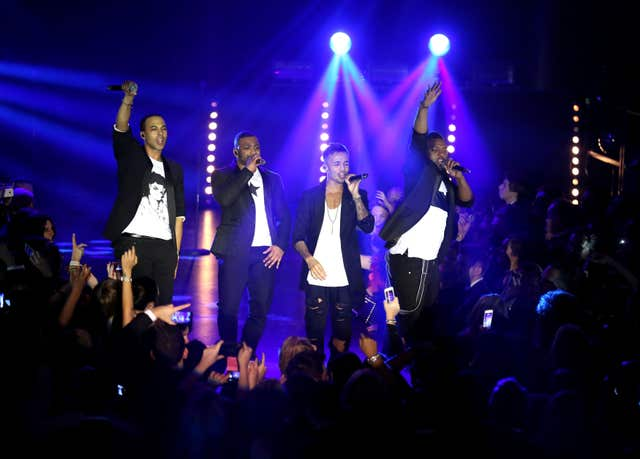 JB Gill, Marvin Humes, Aston Merrygold and Oritse Williams of JLS
