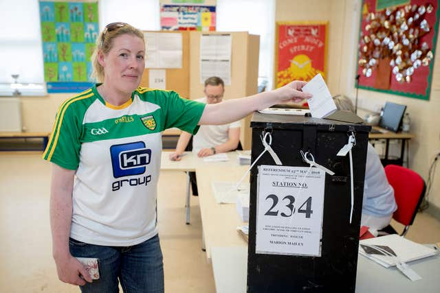 Marie O'Donnell casts her vote at Scoil Mhuire Gan Smal Polling Station, Lifford, Co Donegal (Liam McBurney/PA)